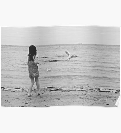 Girl and Seagull Poster