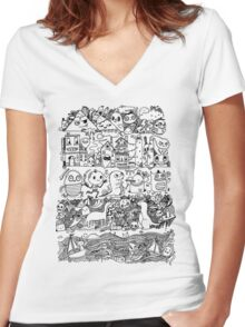 Many Layers of Doodle Women's Fitted V-Neck T-Shirt