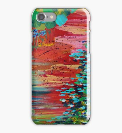 REVISIONED RETRO - Bright Bold Red Abstract Acrylic Colorful Painting 70s Twist Vintage Style Hip iPhone Case/Skin