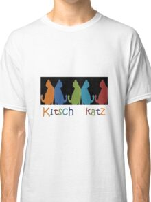 Kitsch Cats Silhouette Cat Collage Pattern on Black Classic T-Shirt