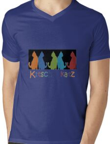 Kitsch Cats Silhouette Cat Collage Pattern on Black Mens V-Neck T-Shirt