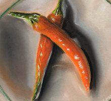 Orange Fogo Peppers by Amy-Elyse Neer