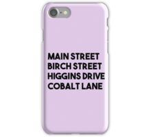 Main Street, Birch Street, Higgins Drive, Cobalt Lane (Black) iPhone Case/Skin