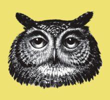 Detailed Vintage Owl Drawing Baby Tee