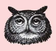 Detailed Vintage Owl Drawing One Piece - Long Sleeve