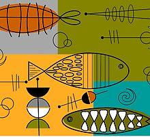 Mid-Century Modern Whimsical Fish by Gail Gabel, LLC
