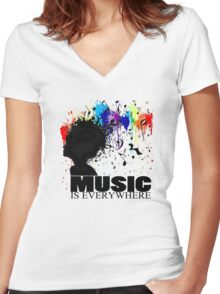 MUSIC IS EVERYWHERE Women's Fitted V-Neck T-Shirt
