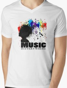 MUSIC IS EVERYWHERE Mens V-Neck T-Shirt