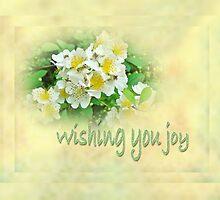 Wedding Wishing You Joy Greeting Card - Wildflower Multiflora Roses by MotherNature