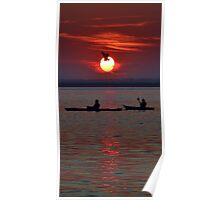 Heron & Kayakers Sunset Poster
