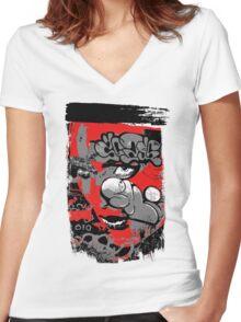 graffiti girl Women's Fitted V-Neck T-Shirt