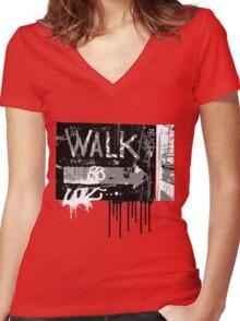 graffiti walk arrow Women's Fitted V-Neck T-Shirt