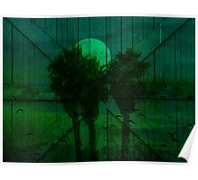 Spooky Green Moon Poster