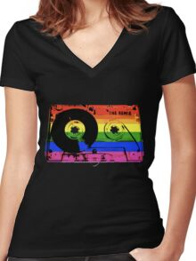rainbow tape remix Women's Fitted V-Neck T-Shirt