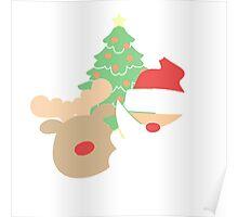 Santa & Reindeer #1 Poster