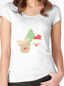 Santa & Reindeer #1 Women's Fitted Scoop T-Shirt