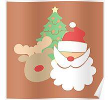 Santa & Reindeer #3 Poster