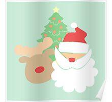 Santa & Reindeer #4 Poster