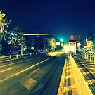 Changzhou road at night, China by Chris Millar