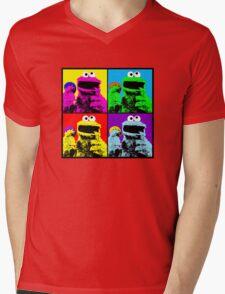 Cookie Monster Pop Art Mens V-Neck T-Shirt