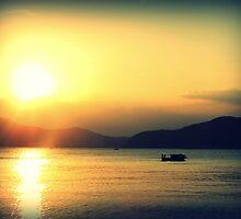 Sanya Boat at Sunset, China by Chris Millar