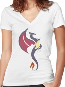 Blazing Flame - Shiny Charizard Women's Fitted V-Neck T-Shirt