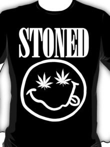 Stoned - white on black T-Shirt