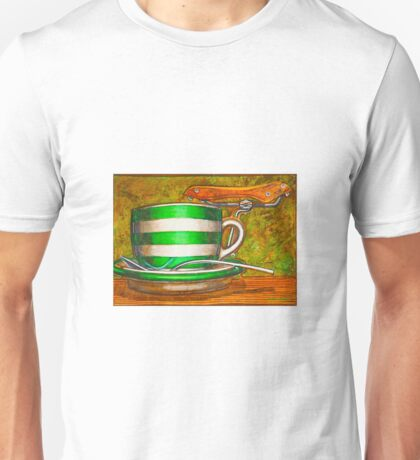 Cafe Art striped cup with bicycle saddle Unisex T-Shirt