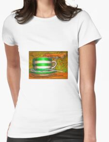 Cafe Art striped cup with bicycle saddle Womens Fitted T-Shirt