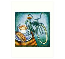Green Electra Delivery Bicycle Coffee and biscotti Art Print
