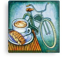 Green Electra Delivery Bicycle Coffee and biscotti Metal Print