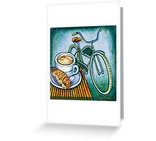 Green Electra Delivery Bicycle Coffee and biscotti Greeting Card