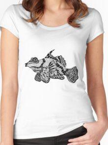Mandarin Fish Drawing Women's Fitted Scoop T-Shirt