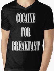Cocaine For Breakfast - white on black Mens V-Neck T-Shirt