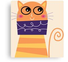 Girly Whimsical Cartoon Cat Canvas Print