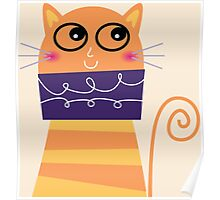 Girly Whimsical Cartoon Cat Poster