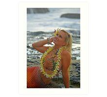 Mermaid with Lei Art Print