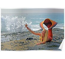 Mermaid with Sea Star Poster