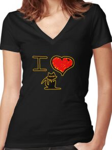 i love black cats Women's Fitted V-Neck T-Shirt