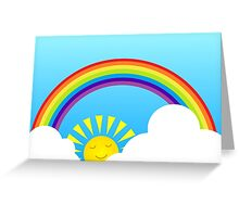 Fun summer rainbow sun and clouds Greeting Card
