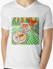 Eroica Britannia Bakewell Pudding and cup of tea on green Mens V-Neck T-Shirt