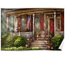 House - Porch - Belvidere, NJ - A classic American home  Poster