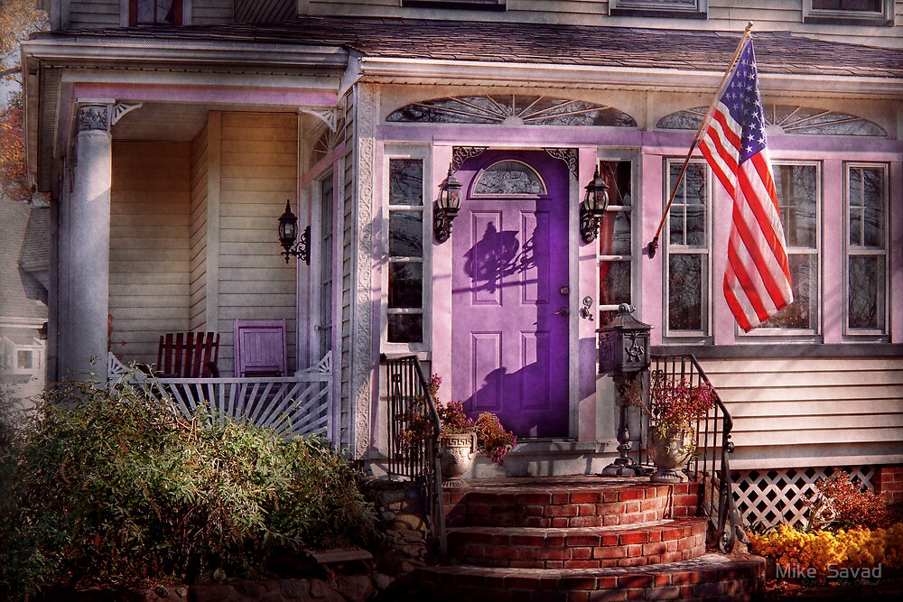 House - Porch - Cranford, NJ - Lovely in Lavender  by Mike  Savad