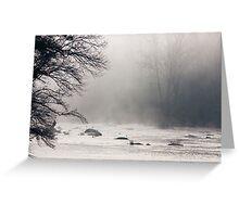 Morning Fog & River Rocks, Haw River, NC Greeting Card
