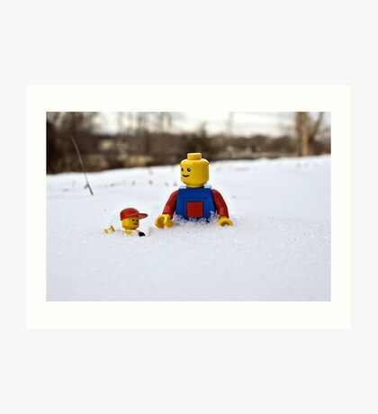 Father/Son Snowy Hike Art Print