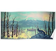 Arctic Fox - Icy Winter Sunset Poster