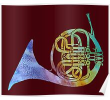 Colorwashed French Horn Poster