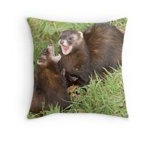 Duet in the key of polecat Throw Pillow