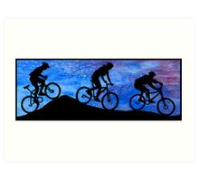 Three Mountain Bikers at Dusk Art Print