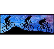 Three Mountain Bikers at Dusk Photographic Print